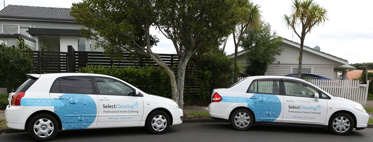 Two vehicles driven by our home cleaning providers